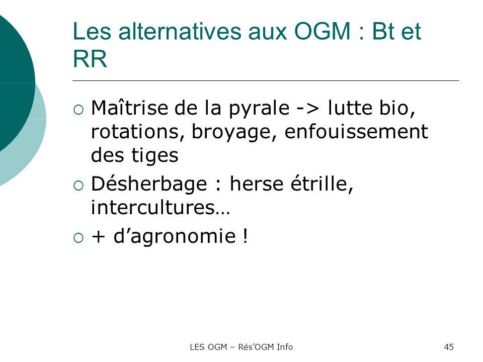 LES OGM – RésOGM Info45 Les alternatives aux OGM : Bt et RR Maîtrise de la pyrale -> lutte bio, rotations, broyage, enfouissement des tiges Désherbage