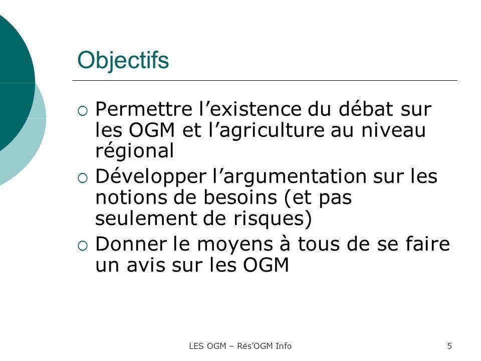 LES OGM – RésOGM Info5 Objectifs Permettre lexistence du débat sur les OGM et lagriculture au niveau régional Développer largumentation sur les notion