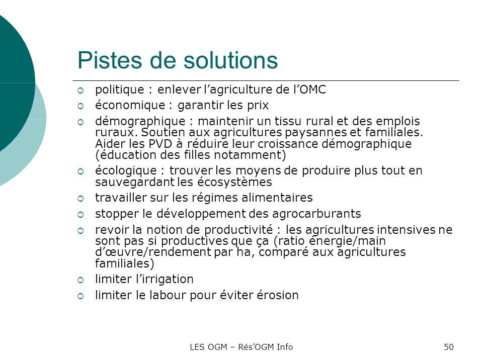 LES OGM – RésOGM Info50 Pistes de solutions politique : enlever lagriculture de lOMC économique : garantir les prix démographique : maintenir un tissu