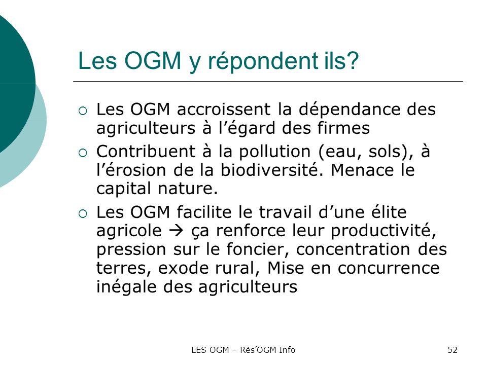 LES OGM – RésOGM Info52 Les OGM y répondent ils? Les OGM accroissent la dépendance des agriculteurs à légard des firmes Contribuent à la pollution (ea