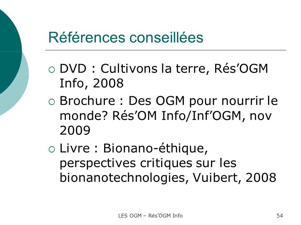 LES OGM – RésOGM Info54 Références conseillées DVD : Cultivons la terre, RésOGM Info, 2008 Brochure : Des OGM pour nourrir le monde? RésOM Info/InfOGM