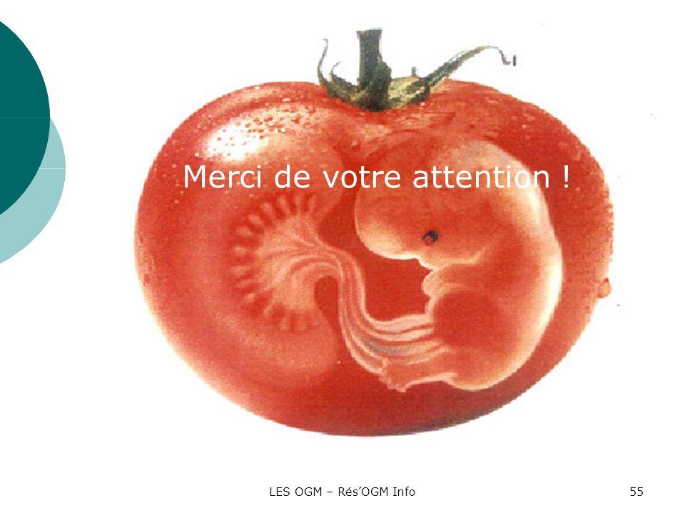 LES OGM – RésOGM Info55 Merci de votre attention !