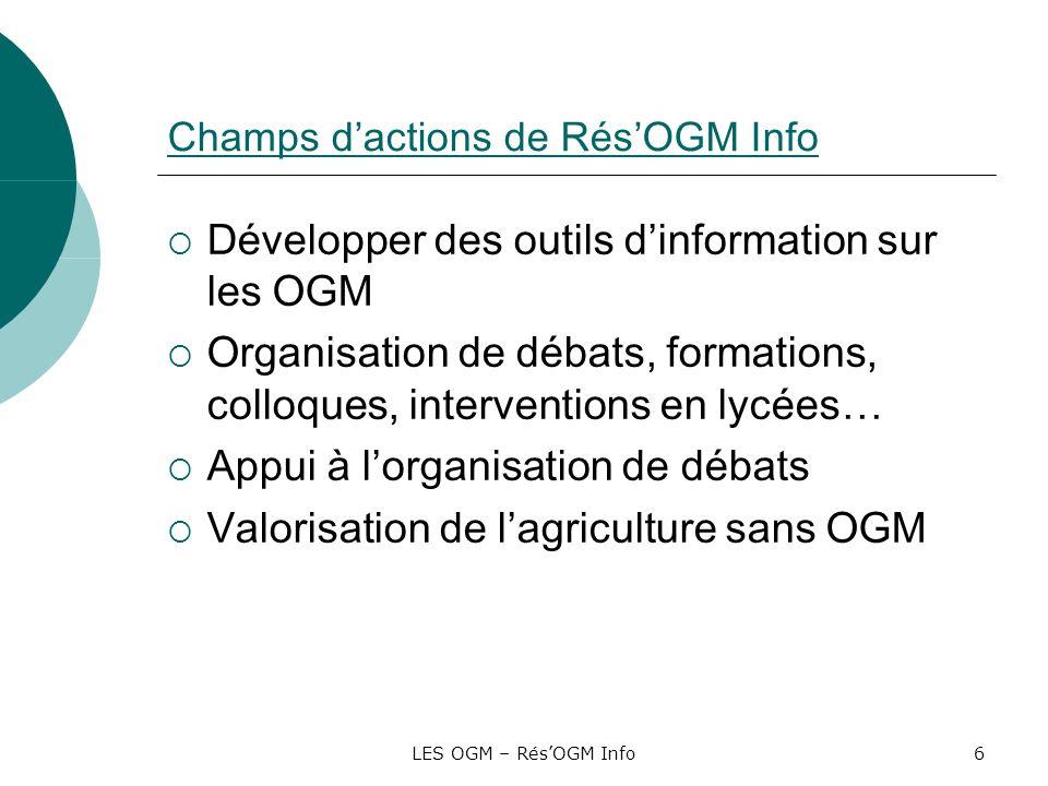 LES OGM – RésOGM Info6 Champs dactions de RésOGM Info Développer des outils dinformation sur les OGM Organisation de débats, formations, colloques, in