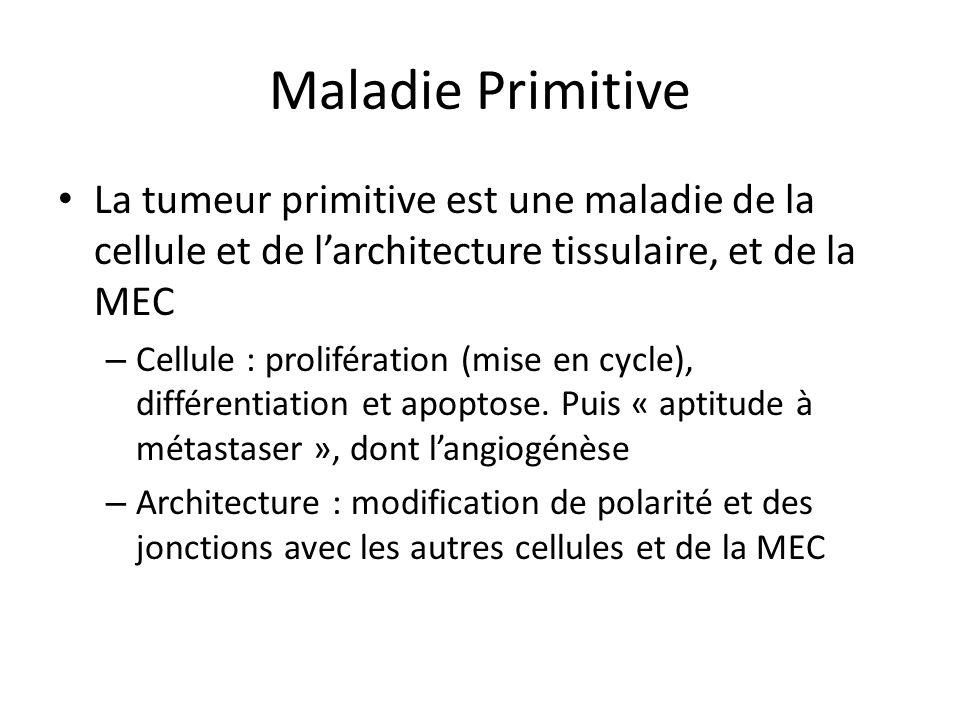 Maladie Secondaire On résumera sous le vocable de motilité toutes les transformation qui amènent à la dissémination métastatique – Transition épithélium mésenchyme – Déplacement – Néoangiogenèse – Dégradation de la MEC – Reconstitution dune MEC sur le site darrivée