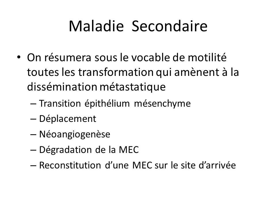 Maladie Secondaire On résumera sous le vocable de motilité toutes les transformation qui amènent à la dissémination métastatique – Transition épithéli