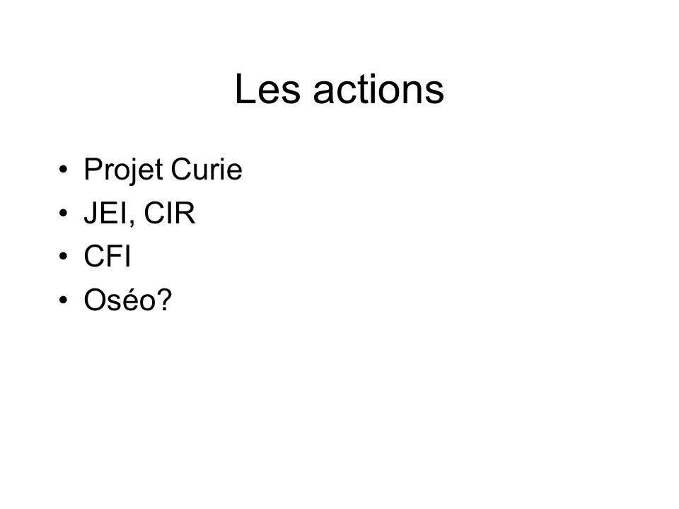 Les actions Projet Curie JEI, CIR CFI Oséo