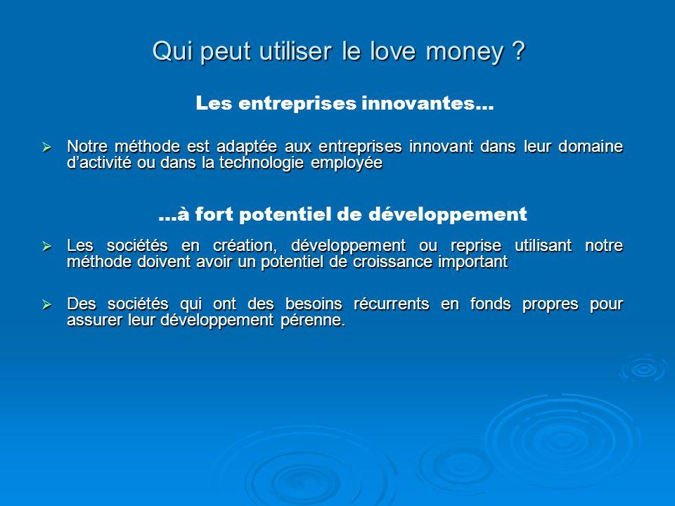 Qui peut utiliser le love money ? Notre méthode est adaptée aux entreprises innovant dans leur domaine dactivité ou dans la technologie employée Notre