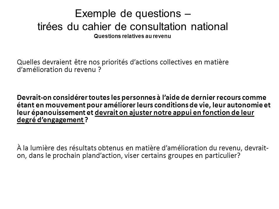 Exemple de questions – tirées du cahier de consultation national Questions relatives au revenu Quelles devraient être nos priorités dactions collectiv