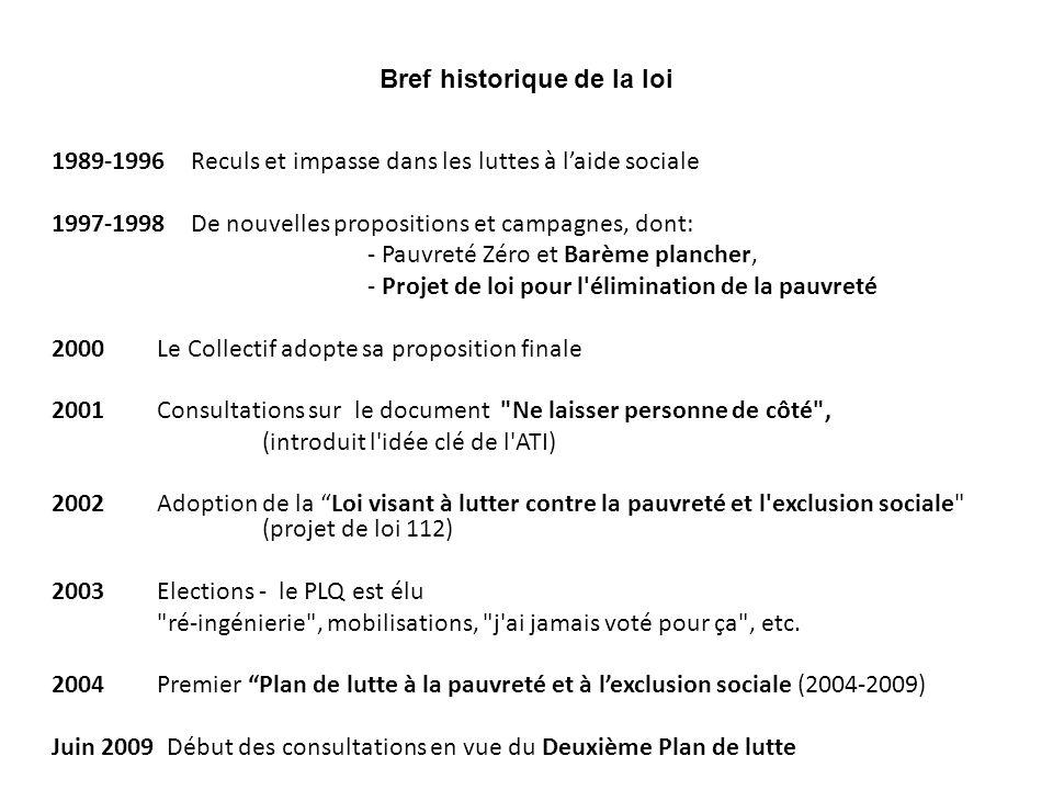 Bref historique de la loi 1989-1996 Reculs et impasse dans les luttes à laide sociale 1997-1998 De nouvelles propositions et campagnes, dont: - Pauvre