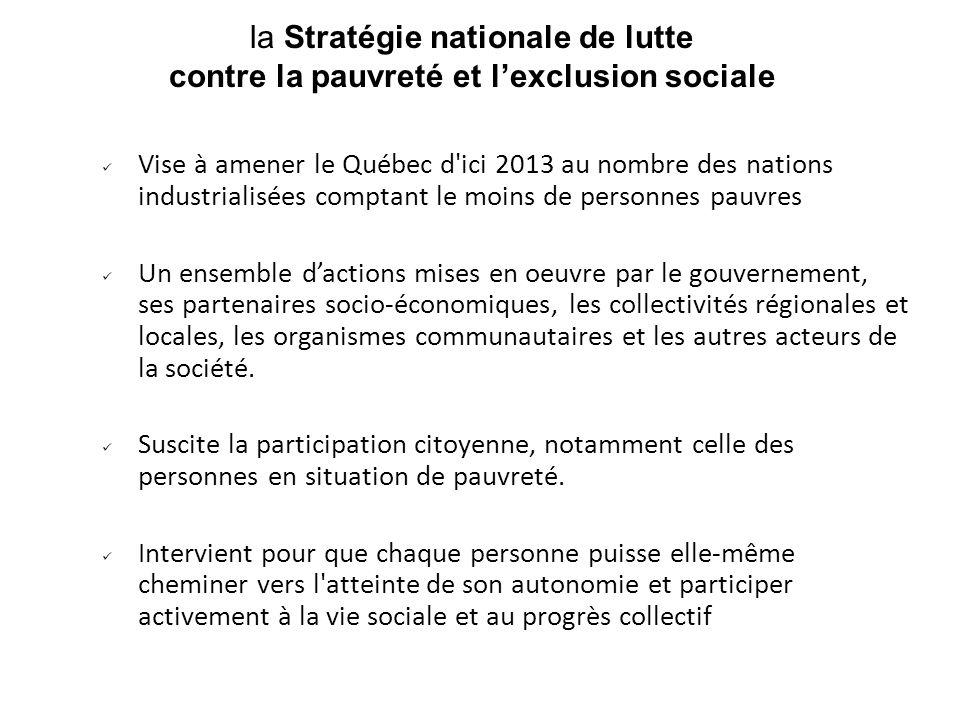 la Stratégie nationale de lutte contre la pauvreté et lexclusion sociale Vise à amener le Québec d'ici 2013 au nombre des nations industrialisées comp