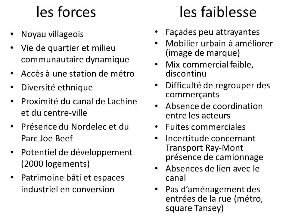 les forces Noyau villageois Vie de quartier et milieu communautaire dynamique Accès à une station de métro Diversité ethnique Proximité du canal de La