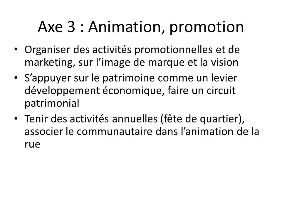 Axe 3 : Animation, promotion Organiser des activités promotionnelles et de marketing, sur limage de marque et la vision Sappuyer sur le patrimoine com