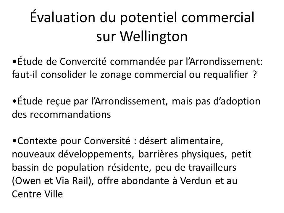 Évaluation du potentiel commercial sur Wellington Étude de Convercité commandée par lArrondissement: faut-il consolider le zonage commercial ou requal