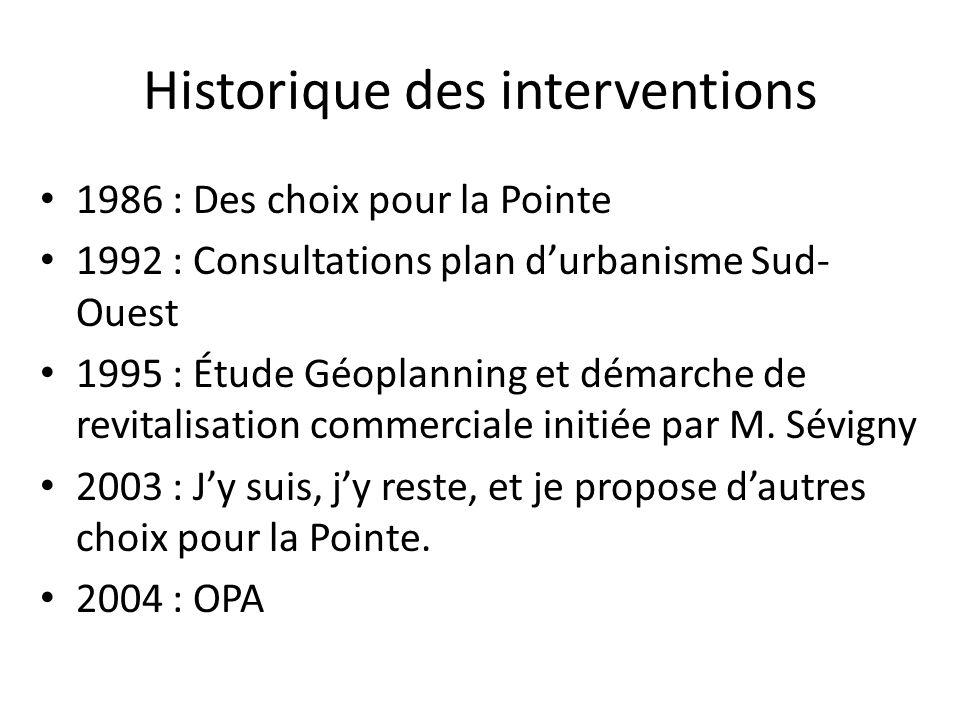 Historique des interventions 1986 : Des choix pour la Pointe 1992 : Consultations plan durbanisme Sud- Ouest 1995 : Étude Géoplanning et démarche de r