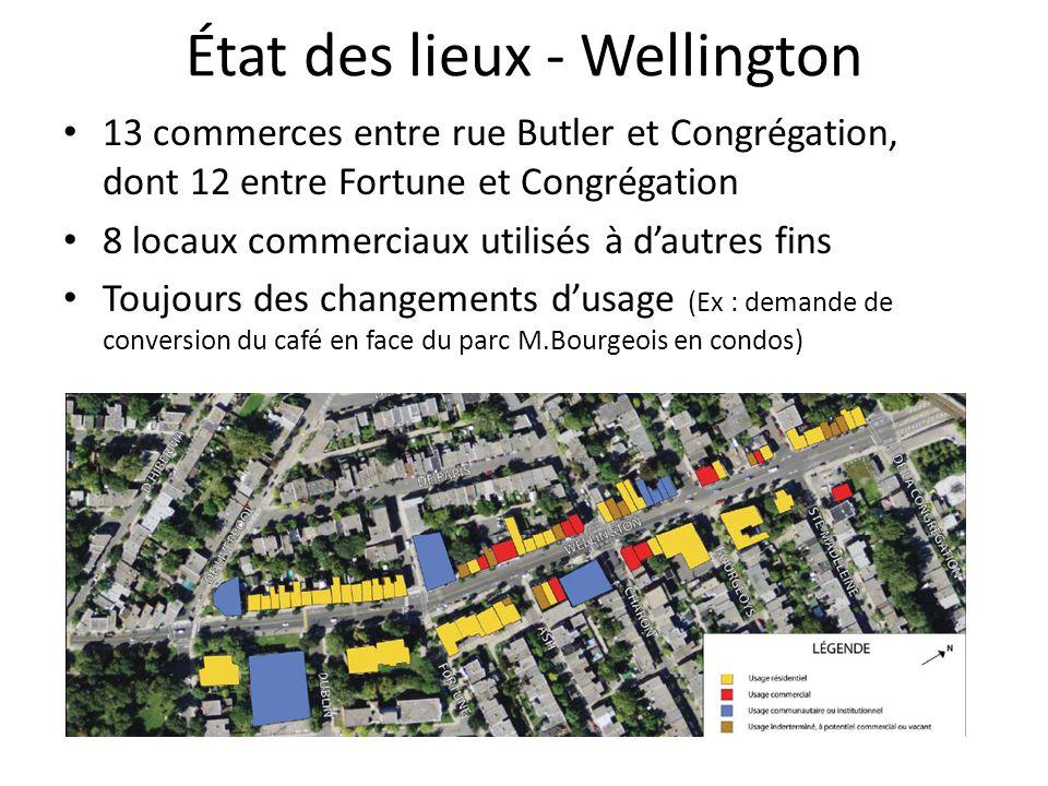 État des lieux - Wellington 13 commerces entre rue Butler et Congrégation, dont 12 entre Fortune et Congrégation 8 locaux commerciaux utilisés à dautr