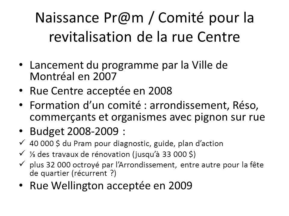 Naissance Pr@m / Comité pour la revitalisation de la rue Centre Lancement du programme par la Ville de Montréal en 2007 Rue Centre acceptée en 2008 Fo