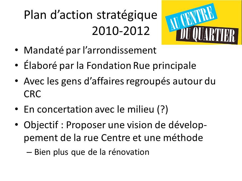 Plan daction stratégique rue Centre 2010-2012 Mandaté par larrondissement Élaboré par la Fondation Rue principale Avec les gens daffaires regroupés au