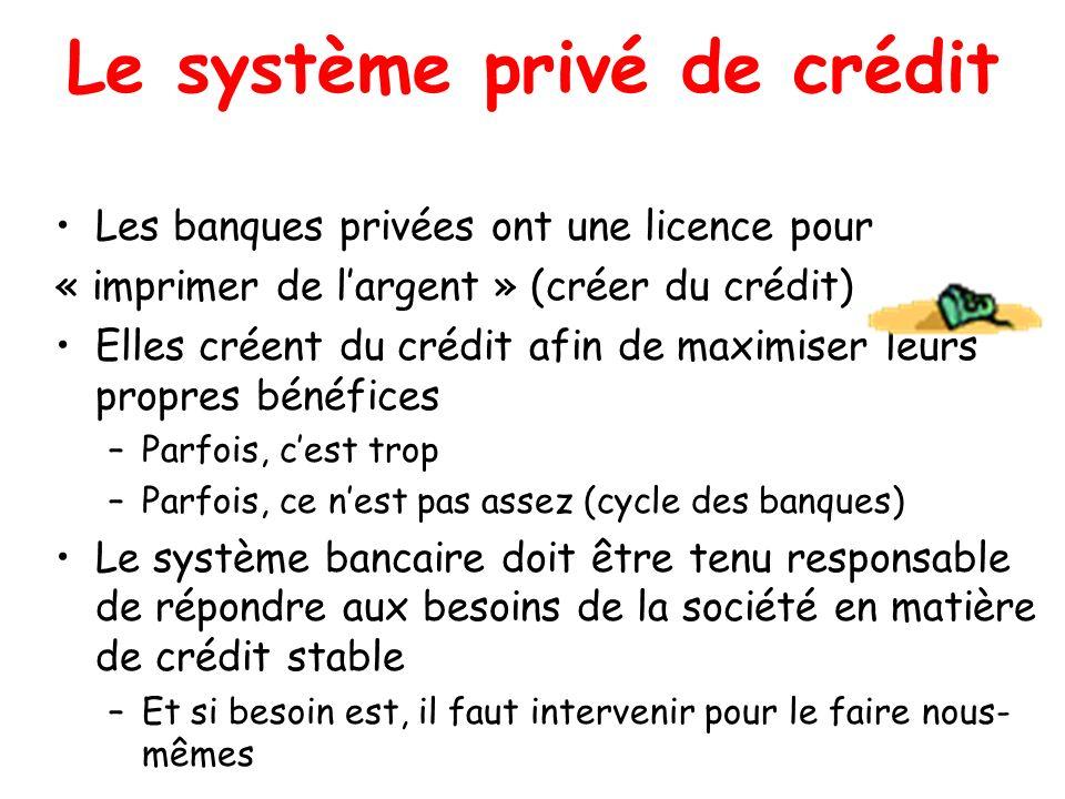 Le système privé de crédit Les banques privées ont une licence pour « imprimer de largent » (créer du crédit) Elles créent du crédit afin de maximiser leurs propres bénéfices –Parfois, cest trop –Parfois, ce nest pas assez (cycle des banques) Le système bancaire doit être tenu responsable de répondre aux besoins de la société en matière de crédit stable –Et si besoin est, il faut intervenir pour le faire nous- mêmes