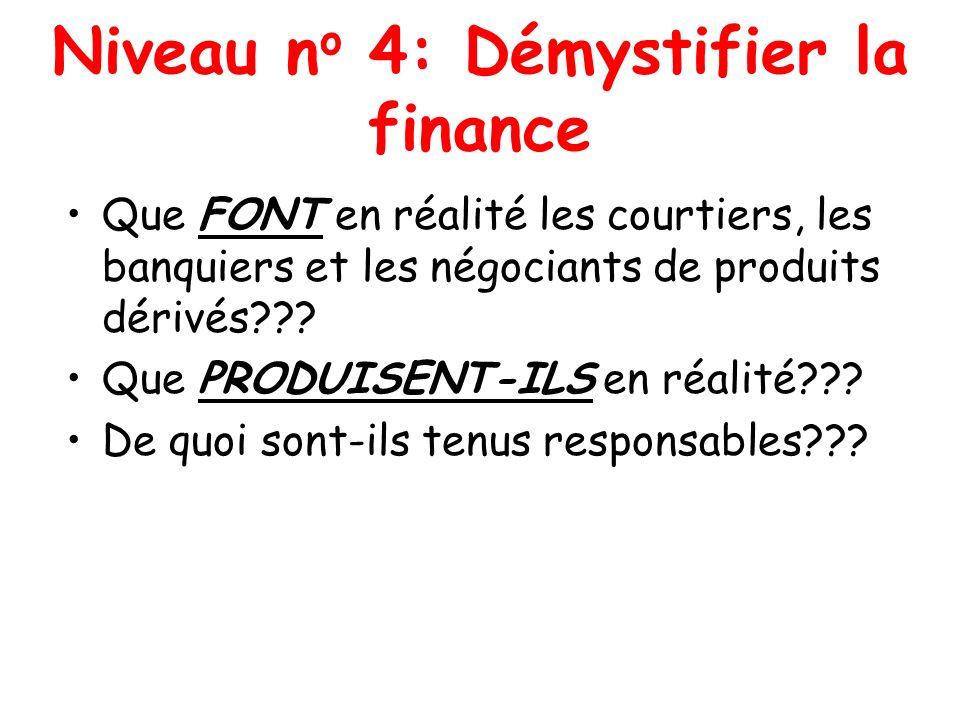 Niveau n o 4: Démystifier la finance Que FONT en réalité les courtiers, les banquiers et les négociants de produits dérivés??? Que PRODUISENT-ILS en r