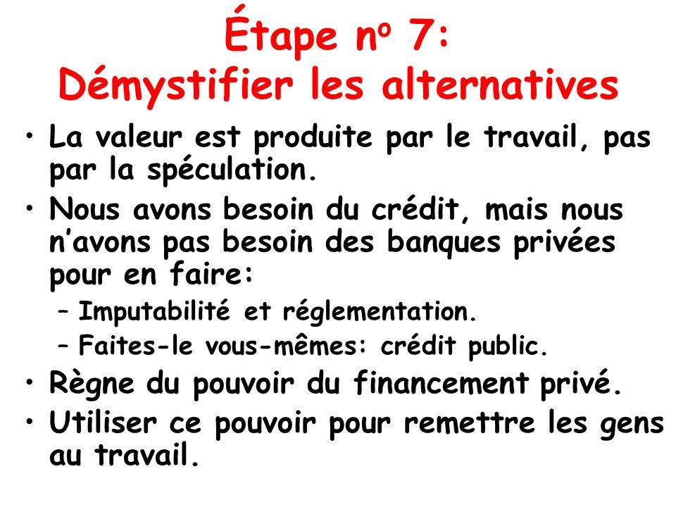 Étape n o 7: Démystifier les alternatives La valeur est produite par le travail, pas par la spéculation. Nous avons besoin du crédit, mais nous navons