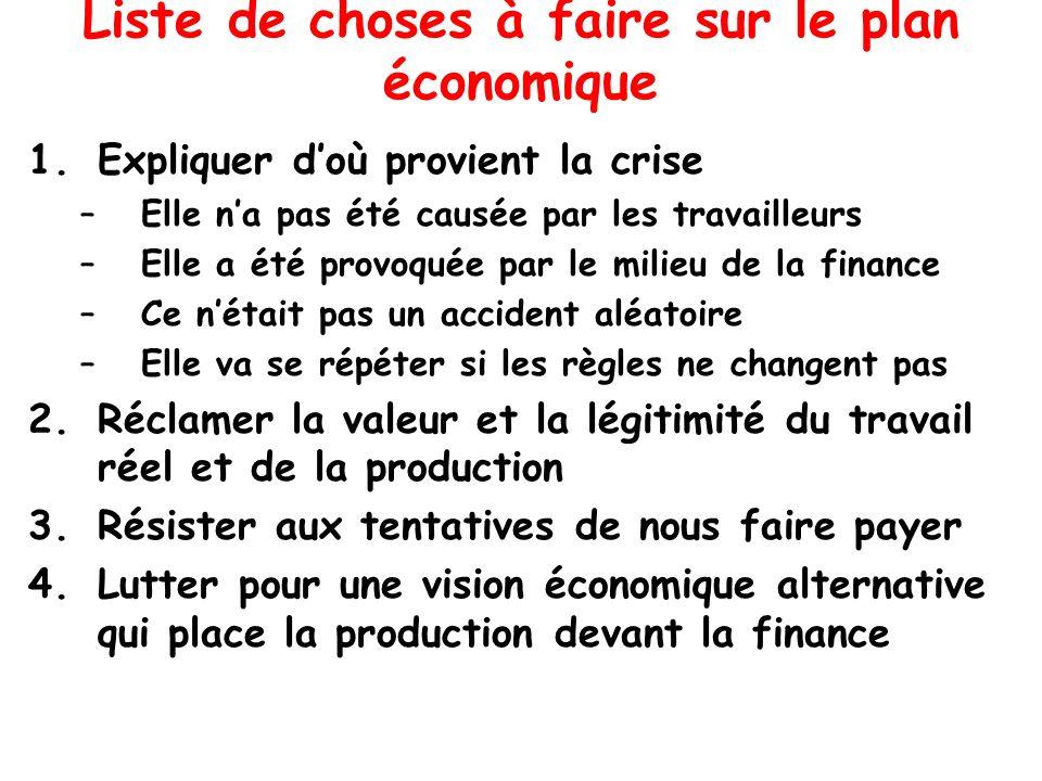 Liste de choses à faire sur le plan économique 1.Expliquer doù provient la crise –Elle na pas été causée par les travailleurs –Elle a été provoquée pa