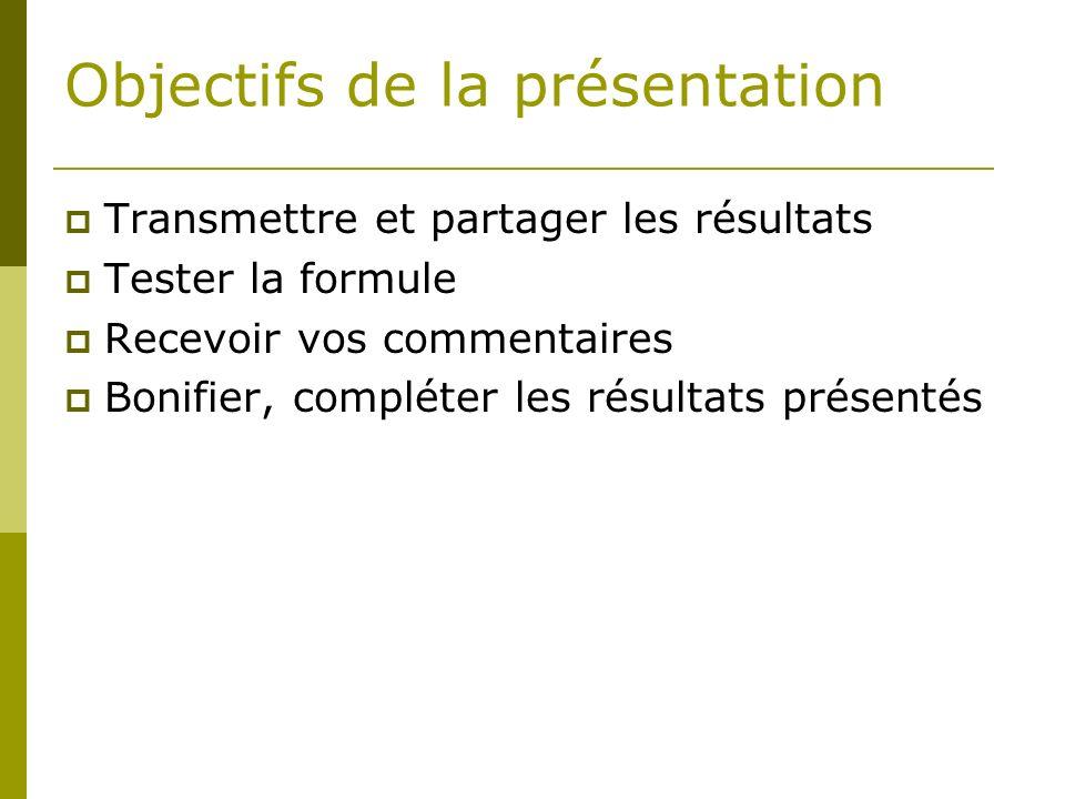 Objectifs de la présentation Transmettre et partager les résultats Tester la formule Recevoir vos commentaires Bonifier, compléter les résultats présentés
