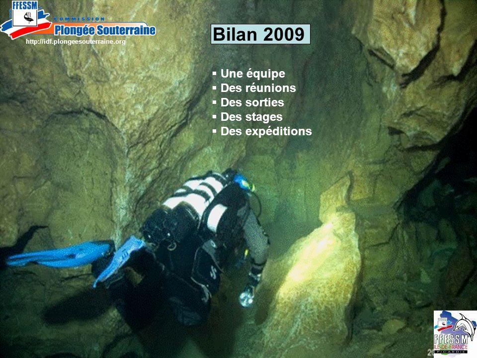 Bilan 2009 Une équipe Des réunions Des sorties Des stages Des expéditions http://idf.plongeesouterraine.org