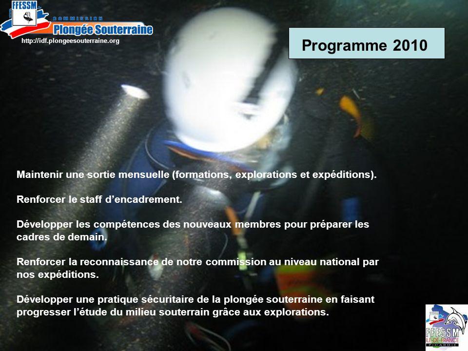 Programme 2010 Maintenir une sortie mensuelle (formations, explorations et expéditions).
