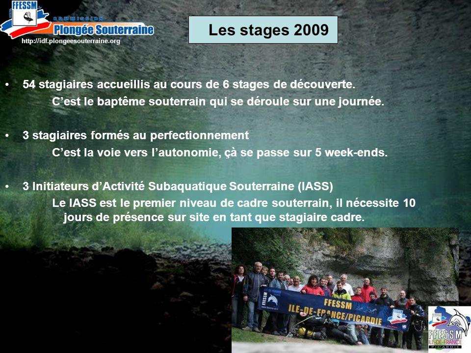 Les stages 2009 http://idf.plongeesouterraine.org Photo de Bernard Soulas 54 stagiaires accueillis au cours de 6 stages de découverte.