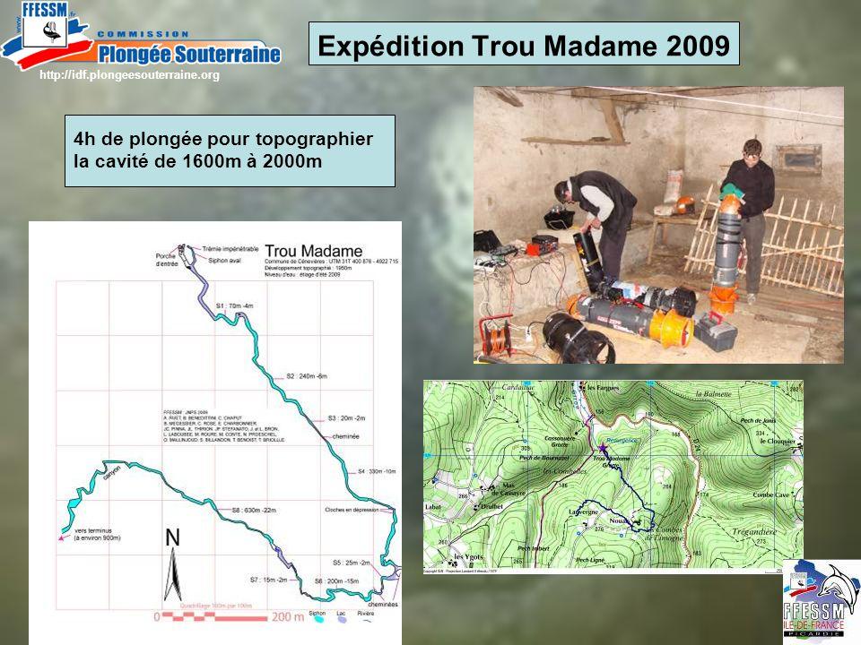 Expédition Trou Madame 2009 4h de plongée pour topographier la cavité de 1600m à 2000m http://idf.plongeesouterraine.org