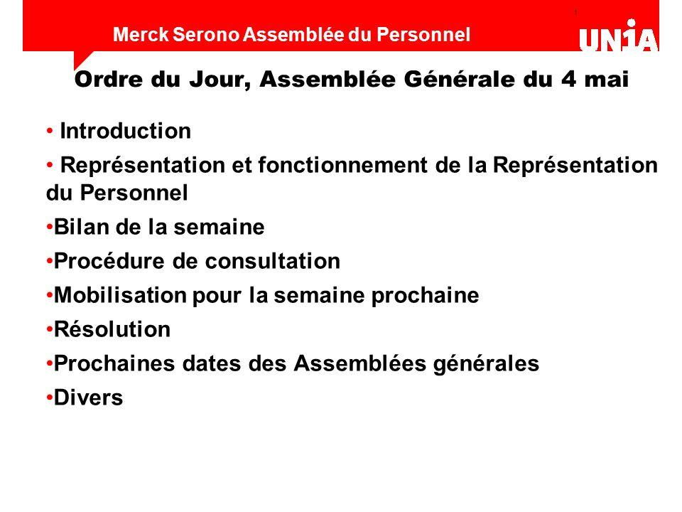 12 Assemblée du personnel de Merck Serono Merck Serono Assemblée du Personnel Mise en place logistique - web, adresses e-mail - permanence - groupes de travail (appel à participer) 3.