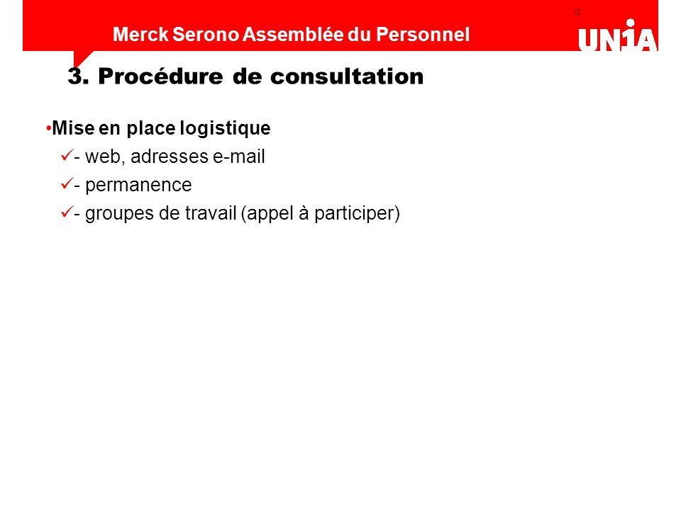 12 Assemblée du personnel de Merck Serono Merck Serono Assemblée du Personnel Mise en place logistique - web, adresses e-mail - permanence - groupes d