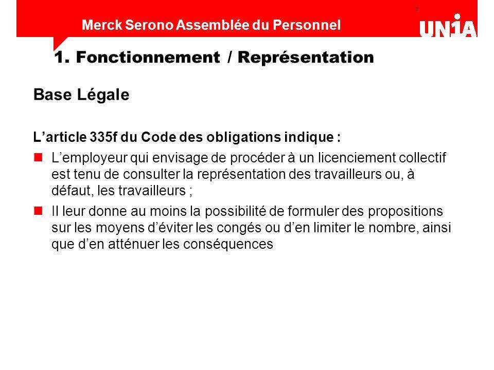 2 Assemblée du personnel de Merck Serono Merck Serono Assemblée du Personnel 1. Fonctionnement / Représentation Base Légale Larticle 335f du Code des