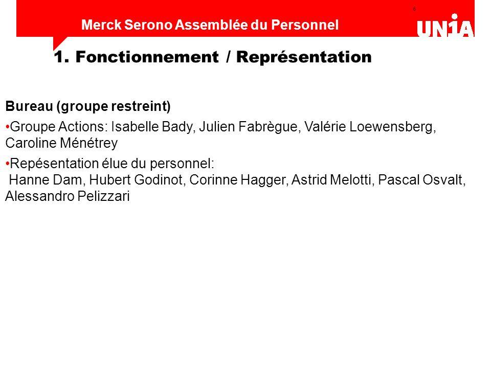6 Assemblée du personnel de Merck Serono Merck Serono Assemblée du Personnel 1. Fonctionnement / Représentation Bureau (groupe restreint) Groupe Actio
