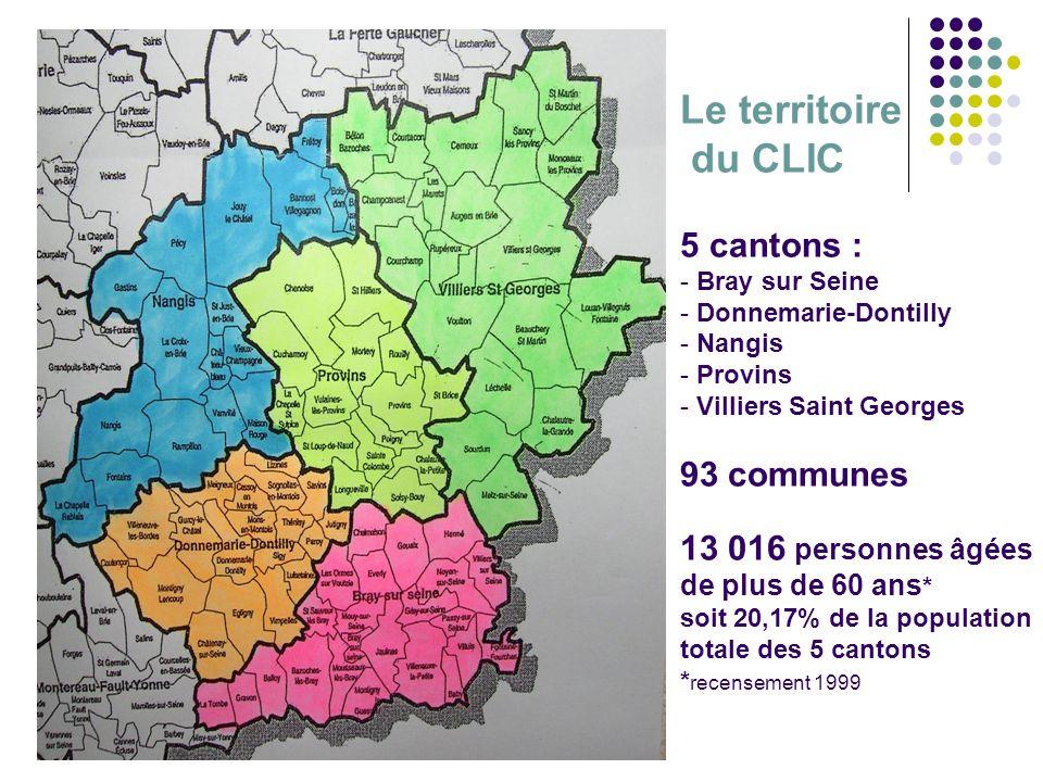 Assemblée plénière du CODERPA 77 jeudi 25 janvier 2007 Le territoire du CLIC 5 cantons : - Bray sur Seine - Donnemarie-Dontilly - Nangis - Provins - V