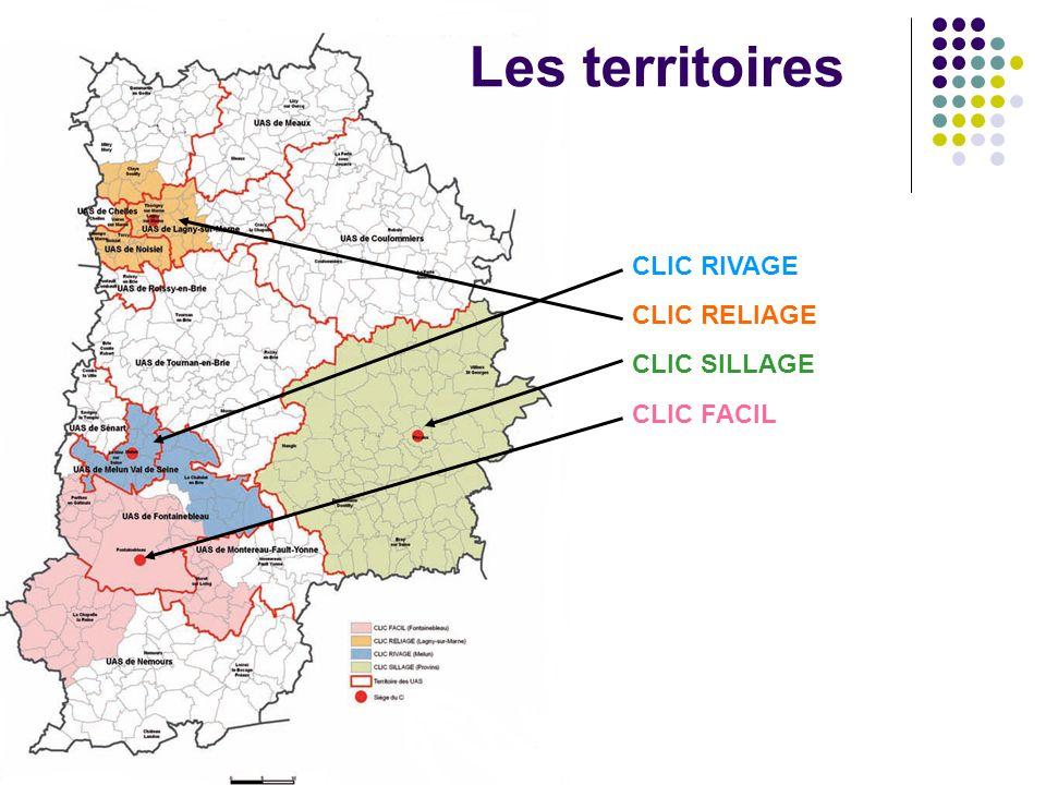 Assemblée plénière du CODERPA 77 jeudi 25 janvier 2007 Les territoires CLIC RIVAGE CLIC RELIAGE CLIC SILLAGE CLIC FACIL