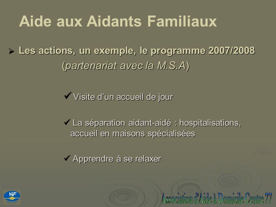 Les actions, un exemple, le programme 2007/2008 Les actions, un exemple, le programme 2007/2008 (partenariat avec la M.S.A) (partenariat avec la M.S.A