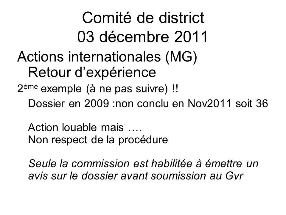 Comité de district 03 décembre 2011 Actions internationales (MG) Retour dexpérience 2 ème exemple (à ne pas suivre) !.