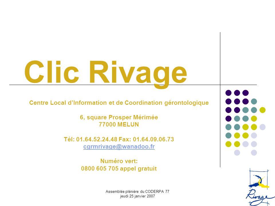 Assemblée plénière du CODERPA 77 jeudi 25 janvier 2007 Clic Rivage Centre Local dInformation et de Coordination gérontologique 6, square Prosper Mérim