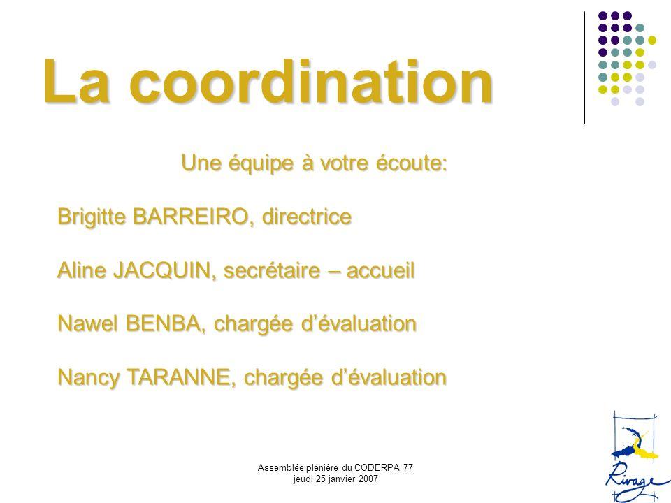 Assemblée plénière du CODERPA 77 jeudi 25 janvier 2007 La coordination Une équipe à votre écoute: Brigitte BARREIRO, directrice Aline JACQUIN, secréta