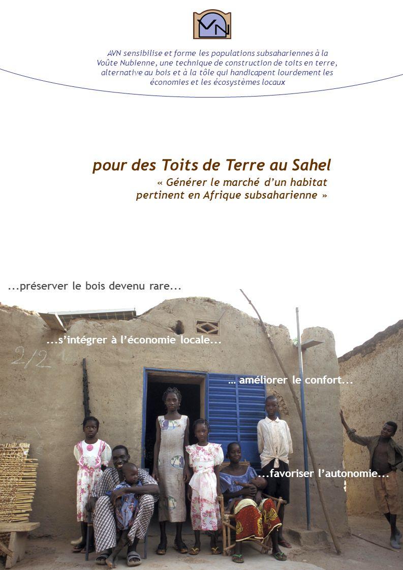 Association la Voûte Nubienne pour des Toits de Terre au Sahel « Générer le marché dun habitat pertinent en Afrique subsaharienne » … améliorer le confort......préserver le bois devenu rare......favoriser lautonomie......sintégrer à léconomie locale...