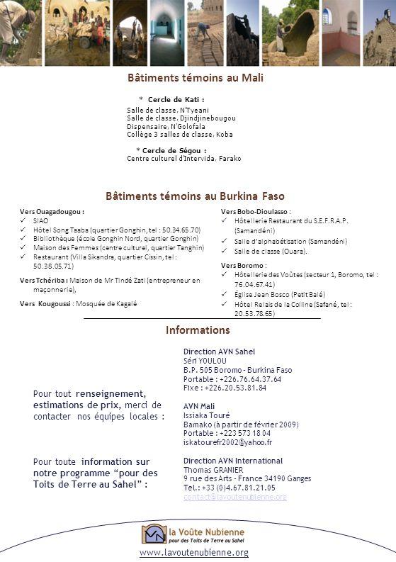 Vers Ouagadougou : SIAO Hôtel Song Taaba (quartier Gonghin, tel : 50.34.65.70) Bibliothèque (école Gonghin Nord, quartier Gonghin) Maison des Femmes (