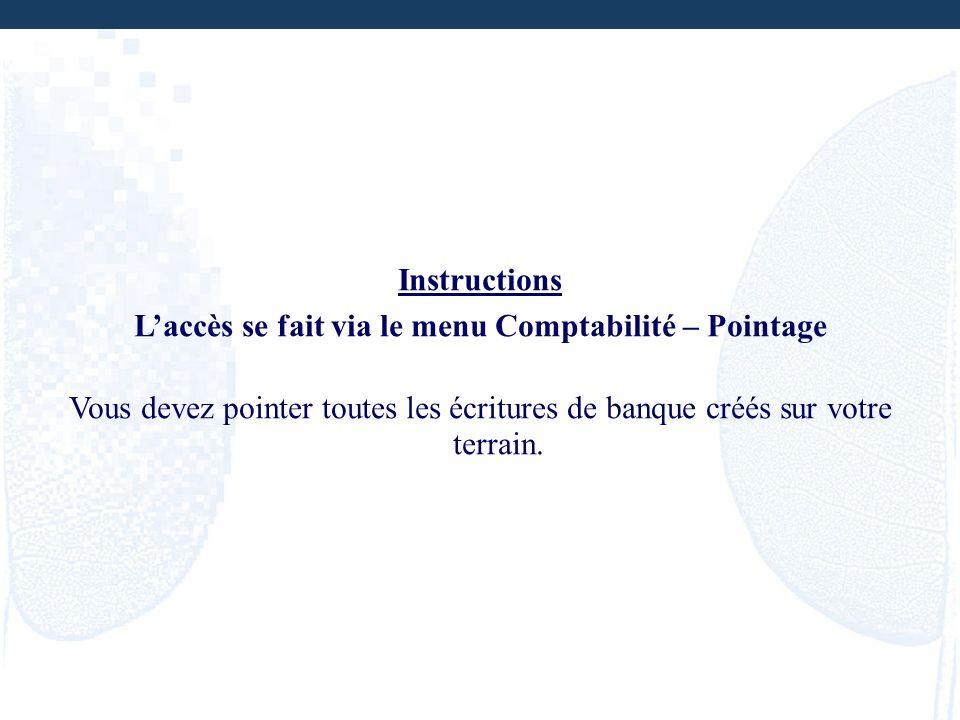 Instructions Laccès se fait via le menu Comptabilité – Pointage Vous devez pointer toutes les écritures de banque créés sur votre terrain.