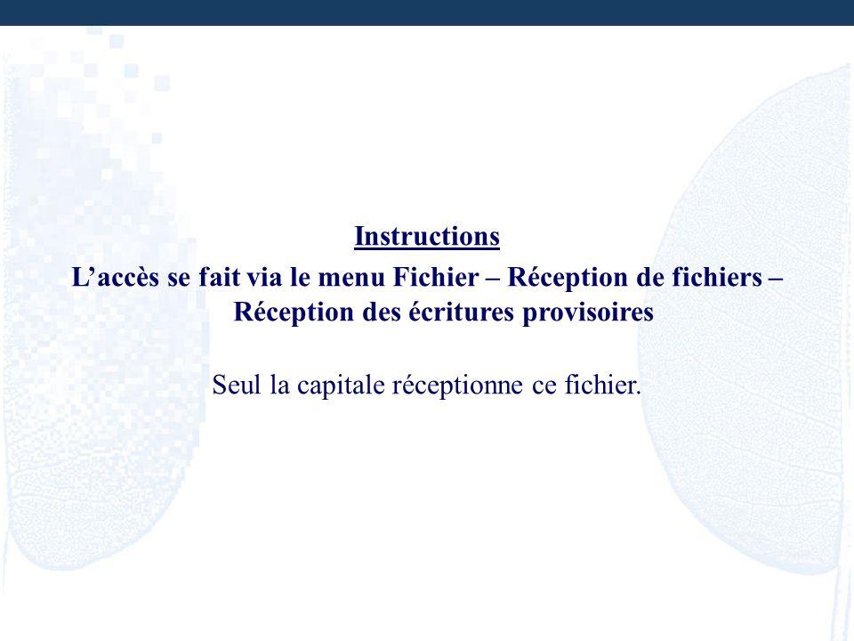 Instructions Laccès se fait via le menu Fichier – Réception de fichiers – Réception des écritures provisoires Seul la capitale réceptionne ce fichier.