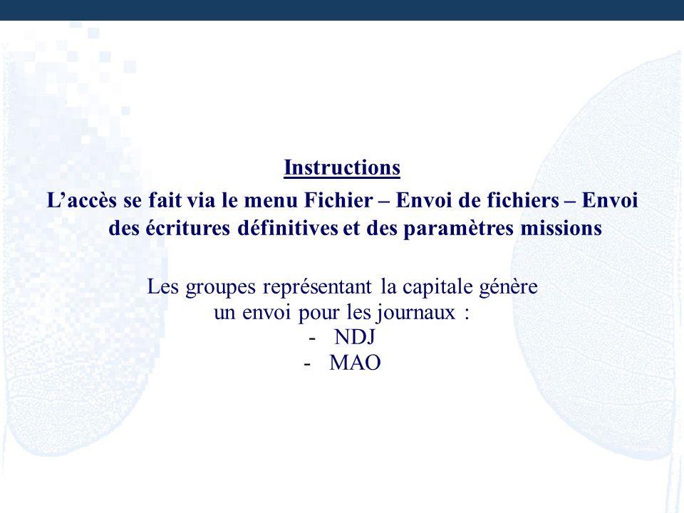 Instructions Laccès se fait via le menu Fichier – Envoi de fichiers – Envoi des écritures définitives et des paramètres missions Les groupes représent