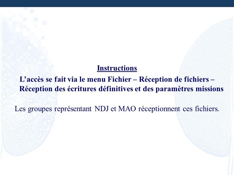 Instructions Laccès se fait via le menu Fichier – Réception de fichiers – Réception des écritures définitives et des paramètres missions Les groupes r