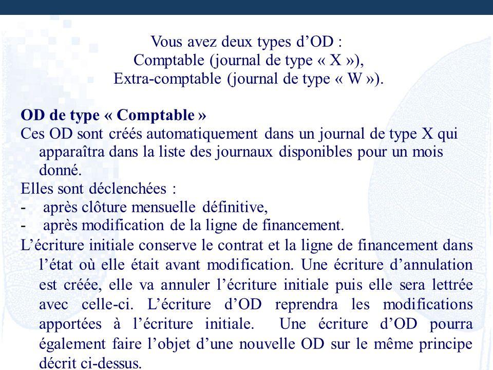 Vous avez deux types dOD : Comptable (journal de type « X »), Extra-comptable (journal de type « W »). OD de type « Comptable » Ces OD sont créés auto