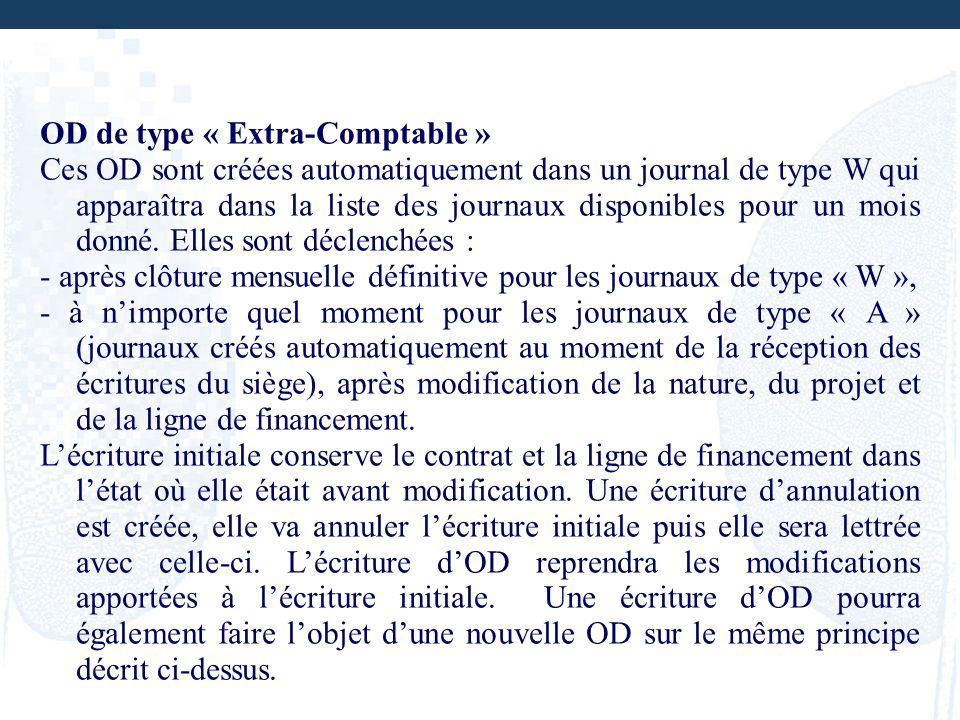 OD de type « Extra-Comptable » Ces OD sont créées automatiquement dans un journal de type W qui apparaîtra dans la liste des journaux disponibles pour