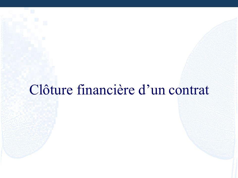 Clôture financière dun contrat