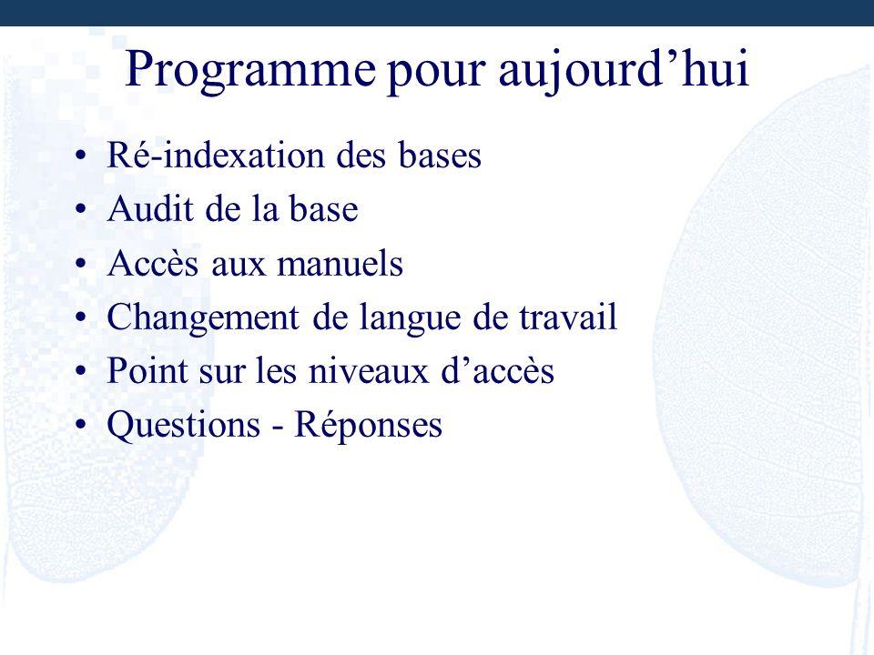 Programme pour aujourdhui Ré-indexation des bases Audit de la base Accès aux manuels Changement de langue de travail Point sur les niveaux daccès Ques